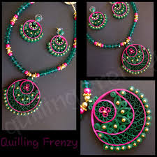 quilling earrings set green and pink traditional ram leela design earrings set