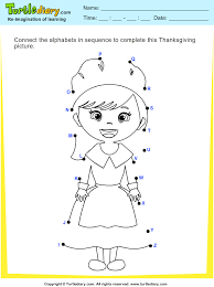 thanksgiving connect the dots by alphabets pilgrim worksheet