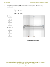 worksheets for all and share free on ls 1 solving systems of linear equations by graphing mathops