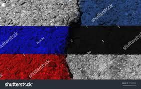Eussian Flag Russian Flag Estonian Flag On Cracked Stock Illustration 707050903