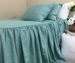 moss green linen bedspread