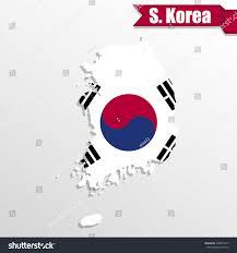 South Korea Flag South Korea Map Flag Inside Ribbon Stock Vector 428873212