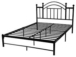 black platform bed frame with metal slats and headboard full size