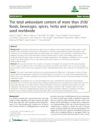 the total antioxidant content of more than 3100 foods beverages