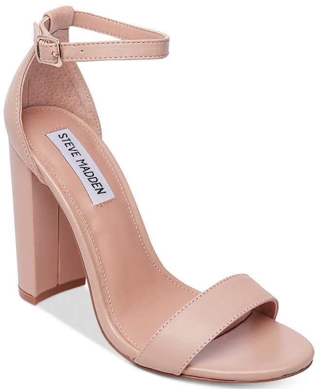 Steve Madden Carrson Blush Leather Ankle Strap Heels