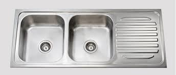 Dead Stock KITCHEN DOUBLE BOWL SINK AND DRAIN BOARD Stainless - Kitchen double bowl sinks