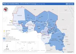 africa map senegal west and central africa ocha rowca coverage as of 07 april 2016