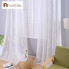 embroidered window sheer white curtains fabrics tulle curtain