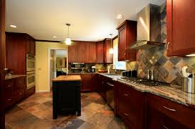 Kitchen Floors With Cherry Cabinets Tile Floor With Maple Cabinets Furnitureteams Com