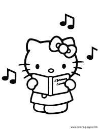 singing hello kitty coloring pages printable