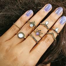 knuckle finger rings images Shuangr 8pcs set charm gold color opal midi finger ring set for jpg