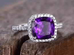 amethyst diamond rings images Amethyst ring 8mm cushion amethyst engagement ring rose gold jpg