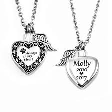 urn necklaces engraved jewelry necklaces always in my heart pet urn