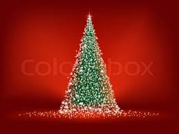 abstract green christmas tree on red background eps 8 vector file