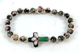 rosary bracelet cloisonne bead cross rosary bracelet