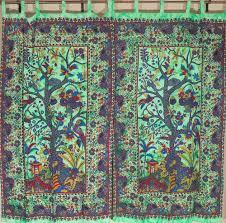 handmade window treatments cotton fabric indian curtains tree of life print window treatments