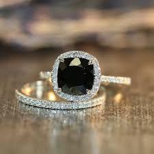 black gemstone rings images Halo diamond black spinel engagement wedding ring set in 14k white jpg