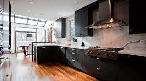 furniture black modern kitchen cabinets with wooden countertop