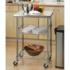 stainless steel top kitchen cart seville classics stainless steel top kitchen cart walmart com