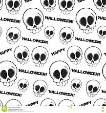 happy halloween vector black and white seamless skulls pattern with text happy halloween
