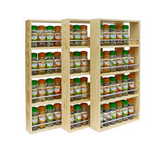 Door Mounted Spice Rack Wooden Spice Rack Contemporary Modern 4 Shelves Freestanding
