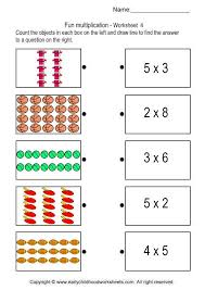 matching pictures with multiplication problems worksheet 4