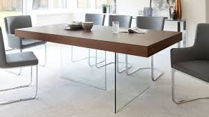 Glass And Wood Dining Tables Modern Wood Dining Table Glass Legs Seats 6 To 8 Wood And