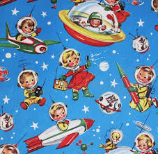 vintage christmas wrapping paper vintage gift wrap space kids manufacturer unknown