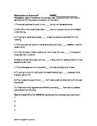 semicolon or comma worksheet and answer key by the english