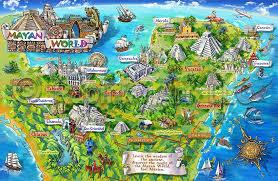 map of mexico yucatan region mayan mexico map illustration specialty map