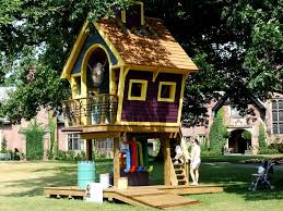 nice backyard playground with diy kids treehouse idea also
