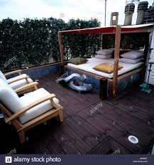 Rooftop Awning Rooftop Garden Terrace With Daybed And Awning Stock Photo Royalty
