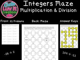 integers addition u0026 subtraction mixed practice 2 mazes by