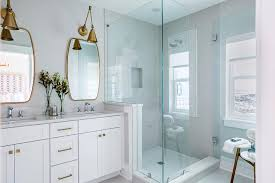 white vanity with brass pulls transitional bathroom sophie