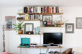 Wall Mounted Bookshelves Diy by Diy Open Shelving Living Room Unit