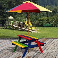 childrens wooden picnic table benches kids childrens multi coloured outdoor wooden picnic table bench