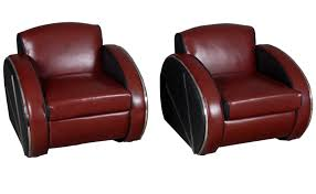 Red Leather Reclining Chair Pair Of Retro Streamline Moderne Red Leather Arm Chairs