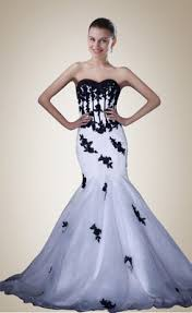 black and white wedding dress buy formal sweetheart applique mermaid white and black wedding