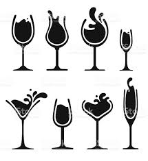 mixed drink clipart black and white silhouette of wine glass with splash stock vector art 505143099