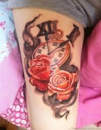 70 pretty rose tattoos on thigh