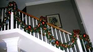 cool garland on stairs pictures banister garland 2 with ribbons
