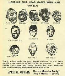 old fashioned halloween masks topstone halloween mask ads mad monsters magazine 1963 blood