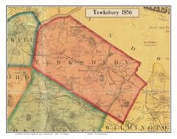 Map Of Amelia Island Florida by Tewksbury Massachusetts 1856 Old Town Map Custom Print