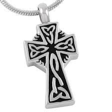 memorial necklace for ashes celtic cross urn necklace for ashes johnston s cremation jewelry