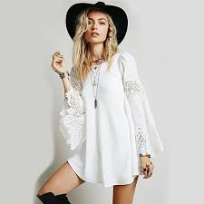 chic clothing boho chic dress bohemian flare sleeve lace patchwork dress date