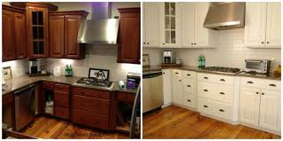 Painted White Kitchen Cabinets Before And After Painting Cherry Cabinets White Before And After Functionalities Net
