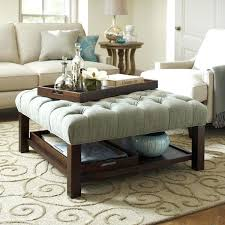 coffee table ottoman leather with tray round diy belham living