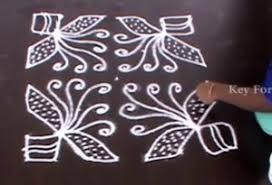 simple butterfly kolam designs with dots rangoli key