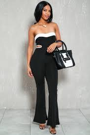 black and white jumpsuit for black white strapless dressy jumpsuit