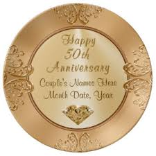50th anniversary plates golden anniversary plates zazzle ca